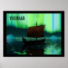Viking-Schiff und Nordlichter Poster