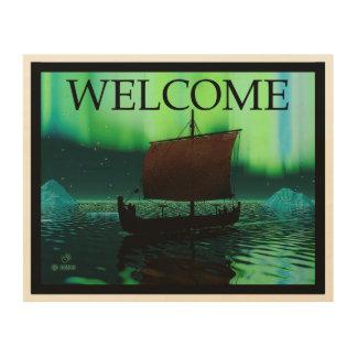 Viking-Schiff und Nordlichter - Willkommen Holzdruck