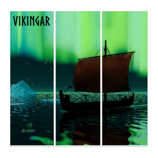 Viking-Schiff unter Nordlichtern Triptychon