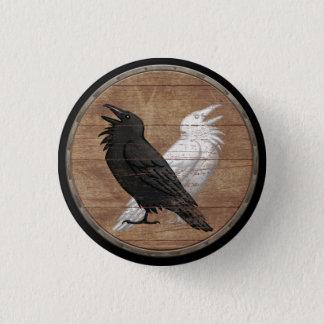 Viking-Schild-Knopf - Odins Raben Runder Button 2,5 Cm