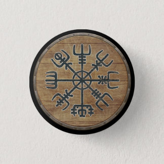 Viking-Schild-Knopf - Vegvísir Runder Button 3,2 Cm