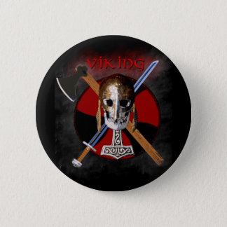 VIKING – Shield Skull Runder Button 5,1 Cm