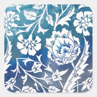 Viktorianische Arabeske, DAME CIARA - Blau u. Weiß Quadratischer Aufkleber