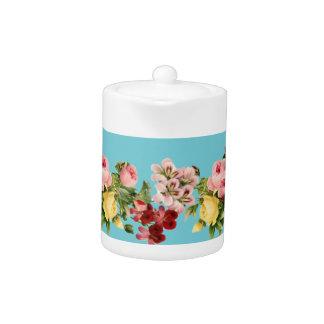 Viktorianische Blumen-Porzellan-Teekanne