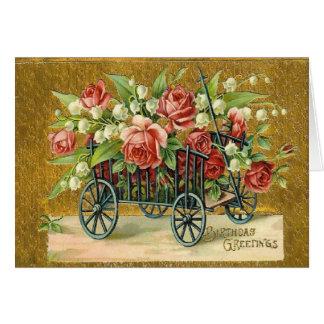 Viktorianische Buggy-Rosen-Geburtstags-Gruß-Karte Karte