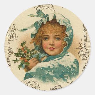 Viktorianische Dame Holiday, Weihnachtsaufkleber Runder Aufkleber