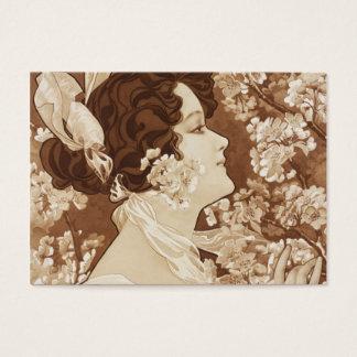 Viktorianische Dame im Frühjahr Visitenkarte