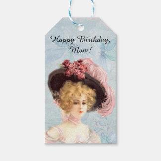 Viktorianische Dame in mit Federn versehenem Geschenkanhänger