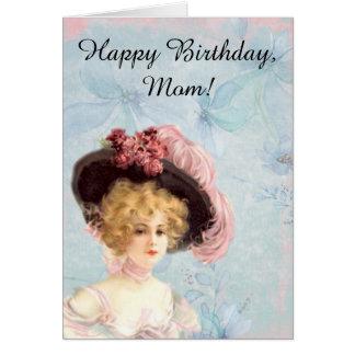 Viktorianische Dame in mit Federn versehener Karte