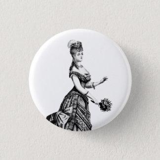 Viktorianische Dame mit Feder-Abzeichen Runder Button 3,2 Cm