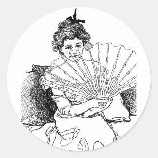 viktorianische Dame Runder Aufkleber