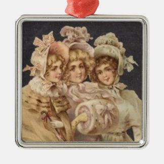 Viktorianische Damen-Frauen-Vintage Silbernes Ornament