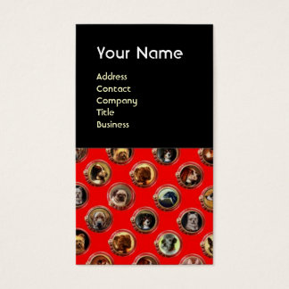 VIKTORIANISCHE EMAIL-/MINIATURE-HUNDEporträts, rot Visitenkarte