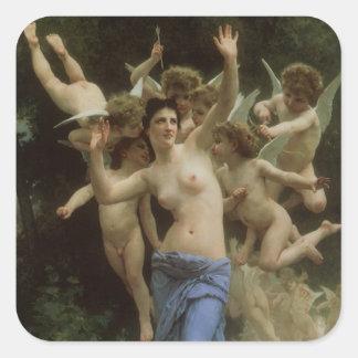 Viktorianische Engels-Kunst, das Nest der Wespe Quadratischer Aufkleber