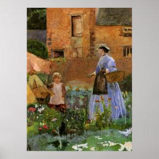 Viktorianische Familie, ein Garten in Cookham Poster