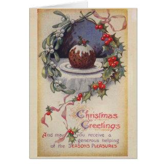 Viktorianische Figgy Pudding-Weihnachtskarte Karte