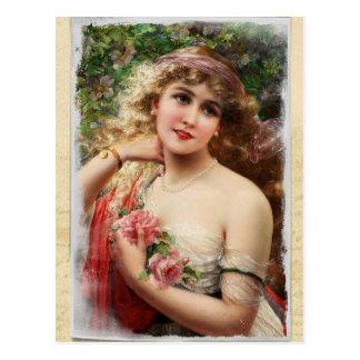 Viktorianische Frau mit rosa Rosen-Postkarte Postkarte