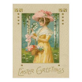 Viktorianische Frau Ostern färbte gemalten Ei-Korb Postkarte