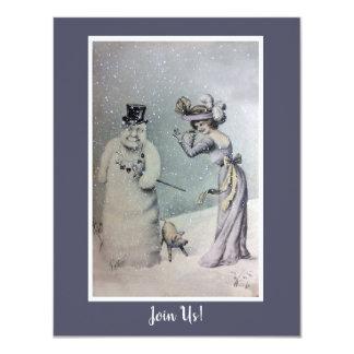 Viktorianische Frau u. anthropomorpher Snowman Karte