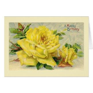 Viktorianische gelbe Rosen-Geburtstags-Karte Grußkarte