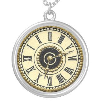 Viktorianische gestempelschnittene Uhr-Gesicht Halskette Mit Rundem Anhänger