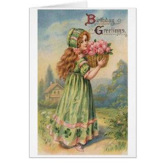 Viktorianische irische Mädchen-Geburtstags-Karte Grußkarte