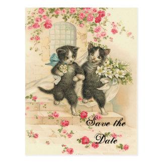 Viktorianische Kätzchen, die Save the Date Wedding Postkarte