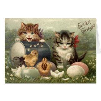 Viktorianische Kätzchen-Ostern-Gruß-Karte Grußkarte