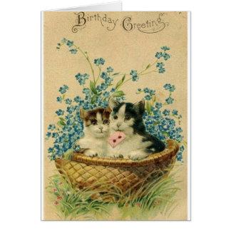 Viktorianische Katzen-Geburtstags-Gruß-Karte