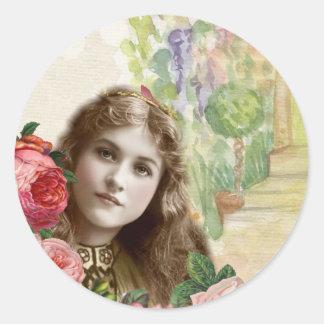 Viktorianische Kohl-Rosen-Frauen-Blumenaufkleber Runder Aufkleber