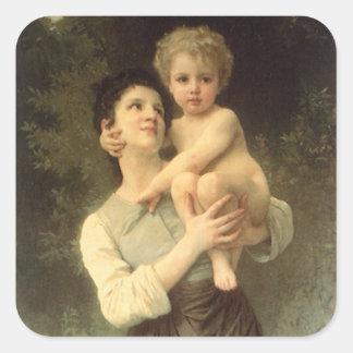 Viktorianische Kunst, Bruder und Schwester durch Quadratischer Aufkleber