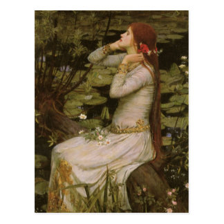 Viktorianische Kunst, Ophelia durch den Teich Postkarte