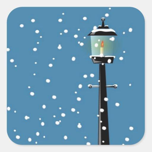 Viktorianische Lamplight-Weihnachtsjahreszeit-Aufk Quadratsticker