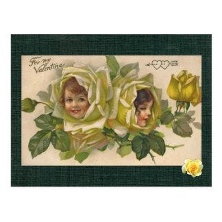 Viktorianische Mädchen des Valentine-2 färben Postkarte