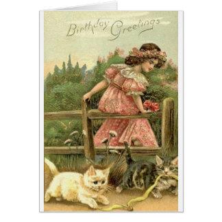 Viktorianische Mädchen-und Karte