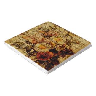 Viktorianische Musik-Blattwatercolor-Blumen-Tapete Töpfeuntersetzer