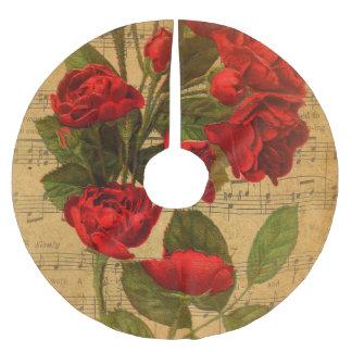 Viktorianische Musik-Blattwatercolor-Rosen-Tapete Polyester Weihnachtsbaumdecke