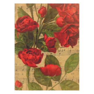 Viktorianische Musik-Blattwatercolor-Rosen-Tapete Tischdecke