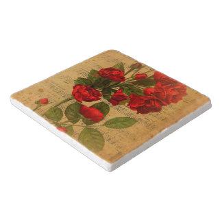 Viktorianische Musik-Blattwatercolor-Rosen-Tapete Töpfeuntersetzer