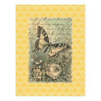 Viktorianische natürliche Schmetterlings-Collage Postkarte