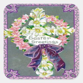 Viktorianische Ostern-Eintagsfliegen Quadratischer Aufkleber