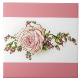 Viktorianische rosa Rose und Keramikfliese