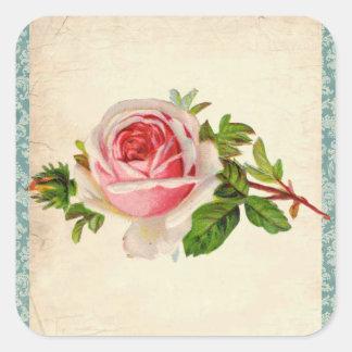 Viktorianische Rose und Damast Quadratischer Aufkleber