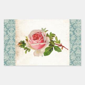 Viktorianische Rose und Damast Rechteckiger Aufkleber