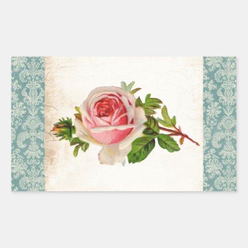 Viktorianische Rose und Damast Rechrteckaufkleber