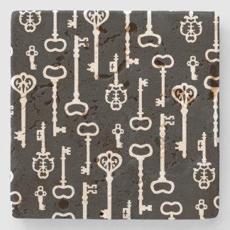 Viktorianische schwarze u. weiße Schlüssel Steinuntersetzer