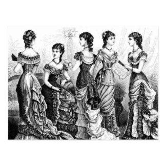 Viktorianische Schwarzweiss-Moden Postkarte