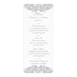 Viktorianische silbernes Grau-Menü-mit Blumenkarte 10,2 X 23,5 Cm Einladungskarte