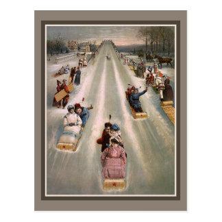 Viktorianische Sleighschlittenwerbung Postkarte