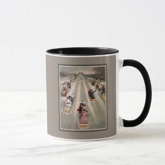 Viktorianische Sleighschlittenwerbung Tasse